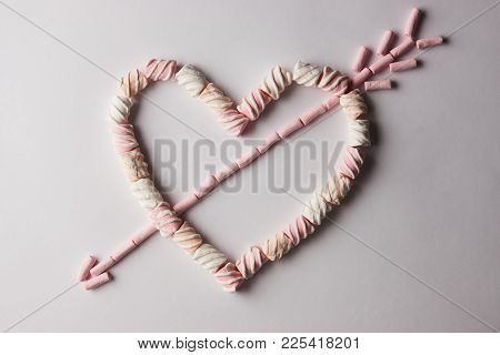 Romantic Heart With Arrow Made From Marshmallow
