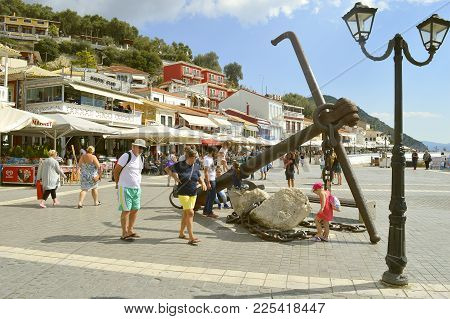 Paxos Harbour, Greece - October 01, 2017 : Paxos Tourist Visiting The Small Island South Of Corfu A