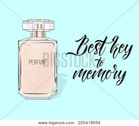 Watercolor Women S Perfume Bottle In Vector. Eau De Parfum Poster Isolated On Blue Background. Best