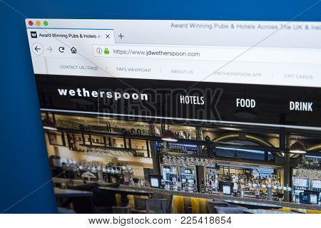 London, Uk - January 10th 2018: The Homepage Of The Official Website For J D Wetherspoon - The Pub C