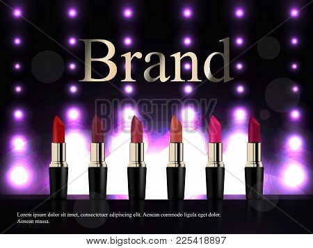 Fashion Lipstick Ads, Liquid Texture Flowing Down On Lipsticks Isolated On Scarlet Background In 3d