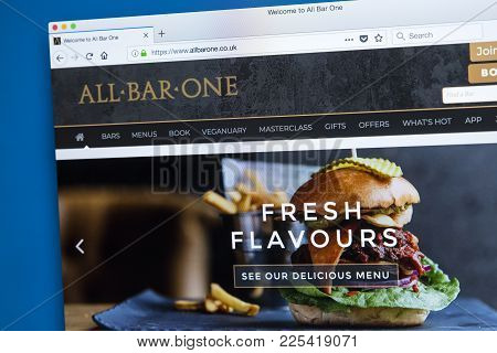 London, Uk - January 10th 2018: The Homepage Of The Official Website For The All Bar One Pub Chain W