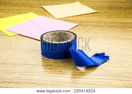Adhesive Tape Isolated On Wooden Backround. Tape.