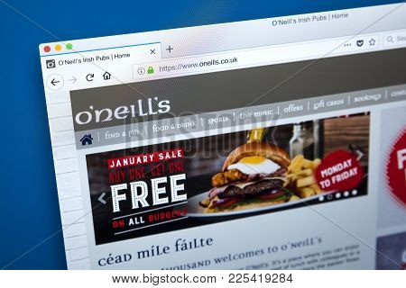London, Uk - January 10th 2018: The Homepage Of The Official Website For The Oneills Pub Chain Which