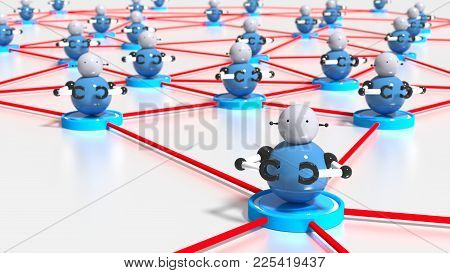 Network Of Platforms With Bots On Top Botnet Cybersecurity Concept 3d Illustration