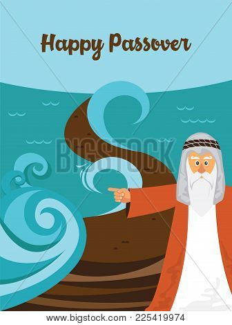 Mozes Splitting The Red Sea And Ordering Let My People Go Out Of Egypt. Story Of Jewish Holiday Pass