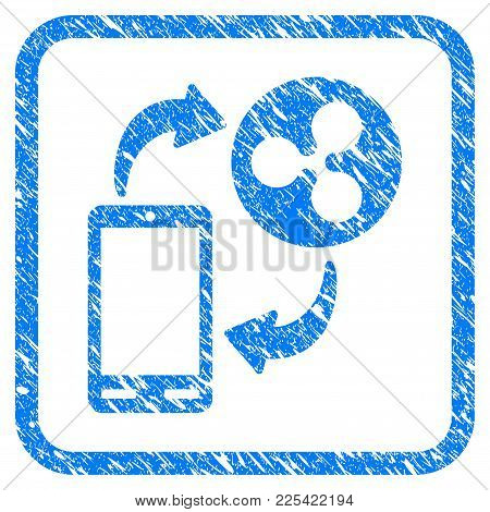 Ripple Mobile Banking Rubber Seal Stamp Watermark. Icon Vector Symbol With Grunge Design And Dust Te