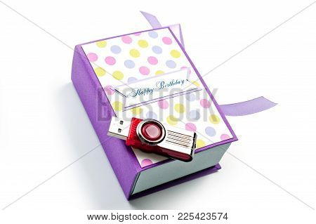 Gift Box For Handmade Usb Flash Drives For A Holiday On A White Background