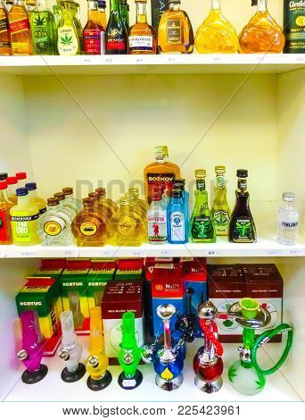 Prague, Czech Republic - December 31, 2017: The Water Pipes And Hookahs In Gift Shop At Prague, Czec