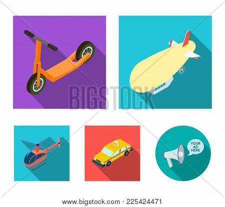 A Dirigible, A Children's Scooter, A Taxi, A Helicopter.transport Set Collection Icons In Flat Style