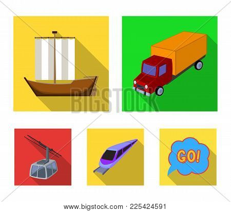 The Truck, The Boat, The Subway, The Funicular Modes Of Transport. Transport Set Collection Icons In