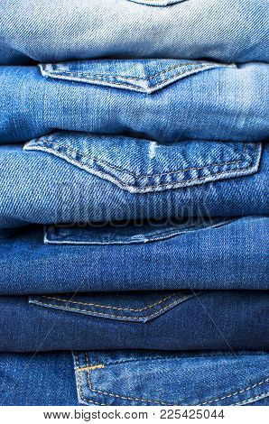 Detail Of Nice Blue Jeans. Blue Jean Background. Blue Denim Jeans Texture. Jeans Background.