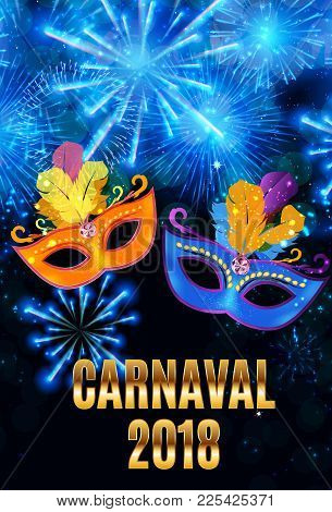 Popular Event Brazil Carnival In South America During Summe.  Background With Party Mask.  Masquerad