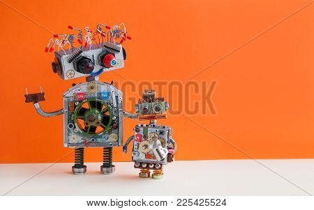 Creative Design Robotic Family. Big Robot Electrical Wire Hairstyle, Plug Arm. Small Kid Cyborg With