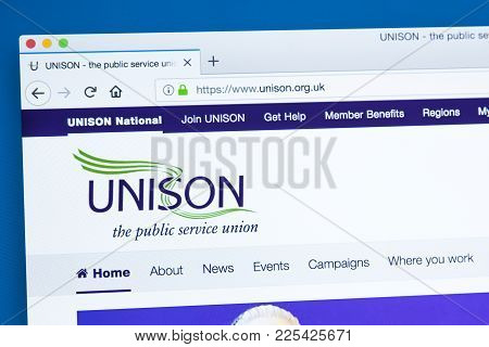 London, Uk - January 8th 2018: The Homepage Of The Official Website For The Unison Trade Union - Mem