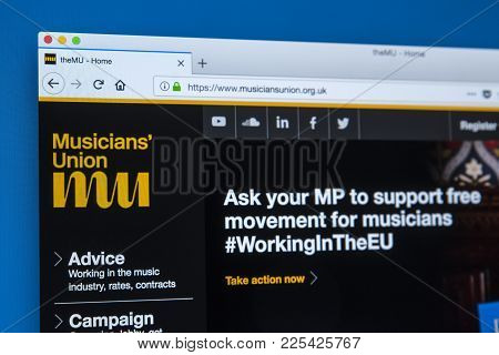 London, Uk - January 8th 2018: The Homepage Of The Official Website For The Musicians Union - An Org