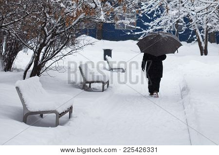 Snowfall Bad Weather Concept. Snow Covered Benches, Woman With An Umbrella Goes Through The Winter P