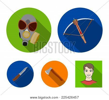 Crossbow, Gas Mask, Ax, Combat Knife. Weapons Set Collection Icons In Flat Style Vector Symbol Stock
