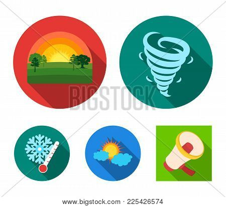 Tornado, Sunrise, Cloudiness, Snow And Frost. The Weather Set Collection Icons In Flat Style Vector