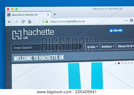 London, Uk - January 8th 2018: The Homepage Of The Official Website For Hachette - The French Publis