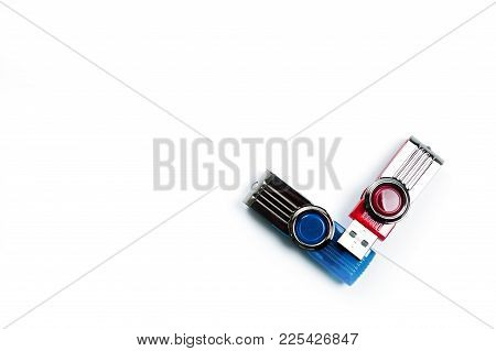 Usb Flash Drive Bright, New, High-speed On A White Background