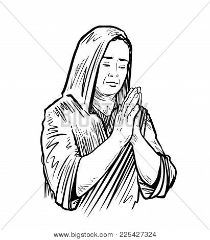 Woman Folded Her Hands For Praying. Sketch Vector Illustration Isolated On White Background
