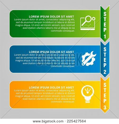 Modern Vector Illustration. Infographic Template With Three Elements, Arrows Of The Rectangle And Pe