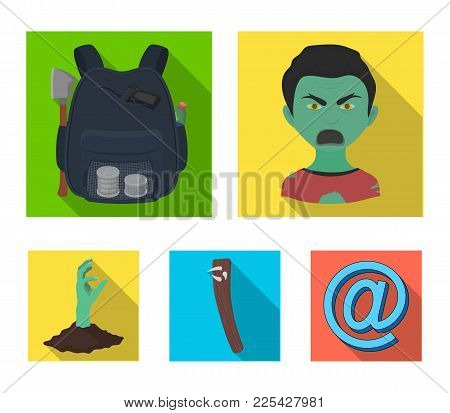 Zombies, Man, Mouth, And Other  Icon In Flat Style.clothes, Holes, Rotten, Icons In Set Collection.