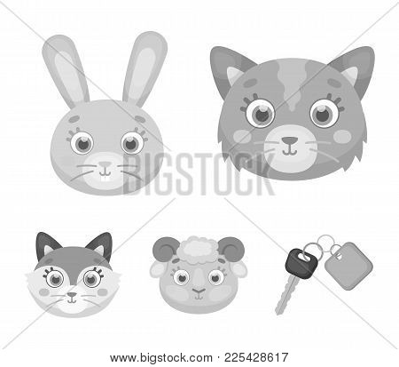 Cat, Rabbit, Fox, Sheep. Animal's Muzzle Set Collection Icons In Monochrome Style Vector Symbol Stoc