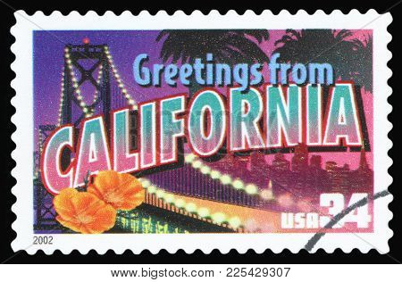 United States - Circa 2002: A Postage Stamp Printed In Usa Showing An Image Of California State, Cir