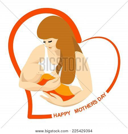 An Image Of A Woman And A Baby, Enclosed In A Red Heart With A Congratulatory Inscription.