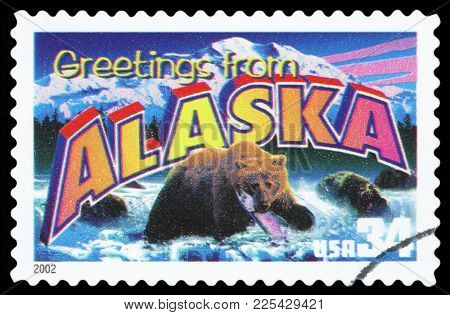 United States - Circa 2002: A Postage Stamp Printed In Usa Showing An Image Of The Alaska State, Cir