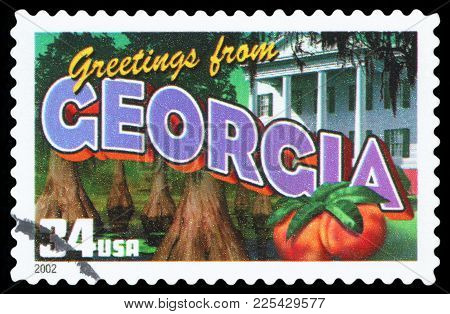 United States - Circa 2002: A Postage Stamp Printed In Usa Showing An Image Of The Georgia State, Ci