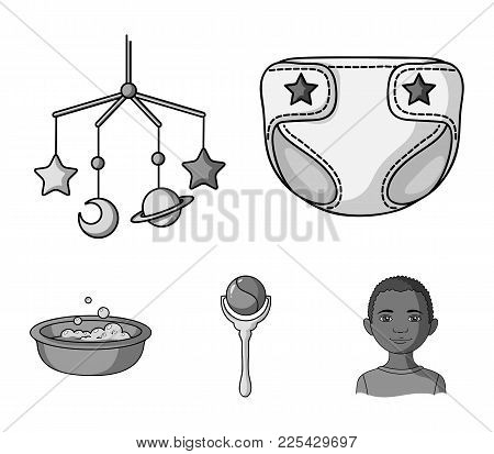 Children's Diapers, A Toy Over The Crib, A Rattle, A Children's Bath. Baby Born Set Collection Icons