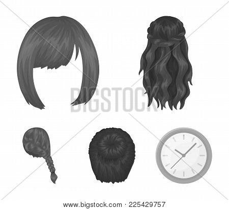 Kara, Red Braid And Other Types Of Hairstyles. Back Hairstyle Set Collection Icons In Monochrome Sty