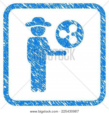 Businessman Show Ripple Coin Rubber Seal Stamp Watermark. Icon Vector Symbol With Grunge Design And