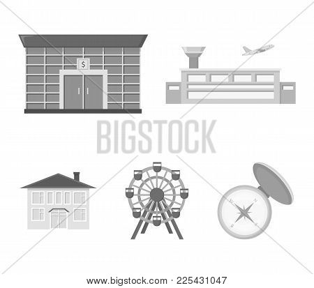 Airport, Bank, Residential Building, Ferris Wheel.building Set Collection Icons In Monochrome Style