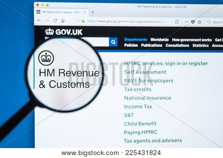 London, Uk - January 8th 2018: The Hm Revenue & Customs Website Magnified Under A Spy Glass, On 8th