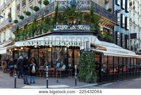 Paris France-february 04, 2018 :the Cafe De Flore Located At The Corner Of Boulevard Saint Germain A