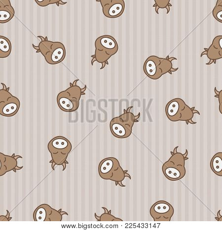 Cow Seamless Pattern Background. Textile For Baby Kine. Vector Beefs. Kid Sleeping Bossy