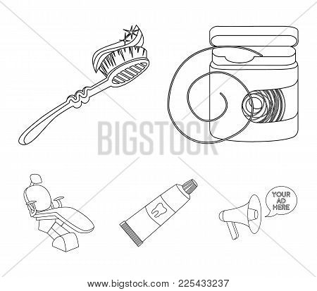 Dental Floss, Toothbrush, Toothpaste, Dental Chair. Dental Care Set Collection Icons In Outline Styl