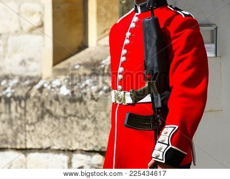 Guard Uniform Details, London, Uk. British Guards In Red Uniforms Are Among The Most Famous In The W