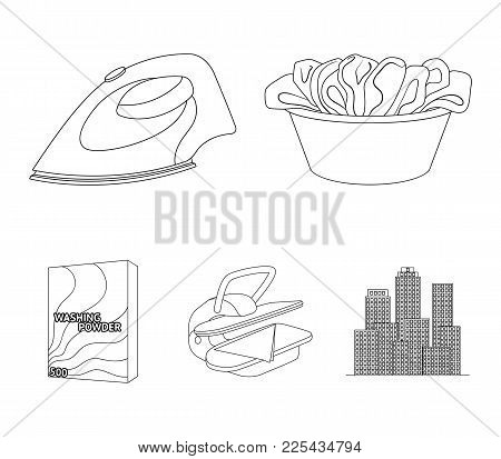 A Bowl With Laundry, Iron, Ironing Press, Washing Powder. Dry Cleaning Set Collection Icons In Outli