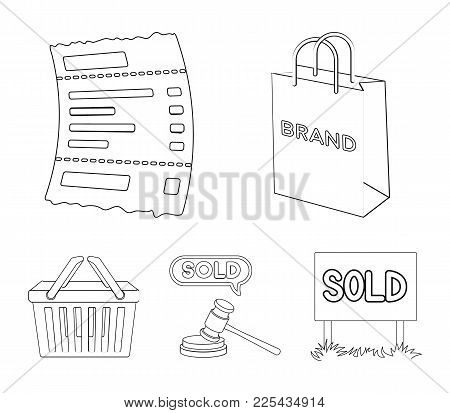 Bag And Paper, Check, Calculation And Other Equipment. E Commerce Set Collection Icons In Outline St
