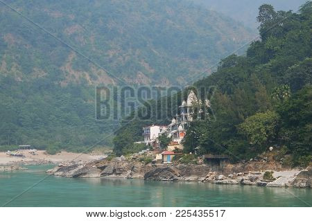View Of Ganga River In Rishikesh, Mountain Landscape In Background