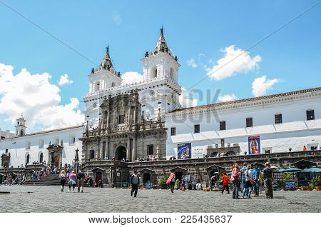 Quito, Ecuador, December 17, 2017: Church And Monastery Of St. Francis Is A 16th-century Roman Catho