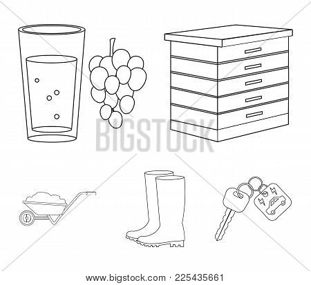 Hive, Grapes, Boots, Wheelbarrow.farm Set Collection Icons In Outline Style Vector Symbol Stock Illu