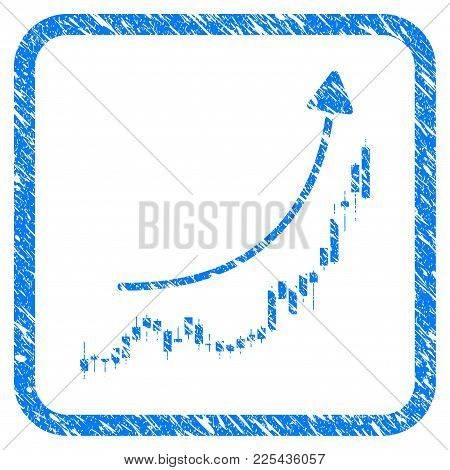 Candlestick Chart Growth Trend Rubber Seal Stamp Watermark. Icon Vector Symbol With Grunge Design An