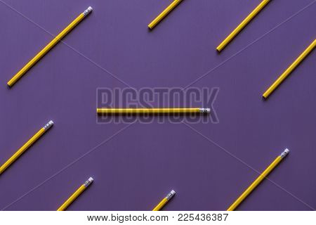 Pencils With Eraser Tops On Purple Background - Wooden Pencils With Eraser Tops Arranged Parallelly