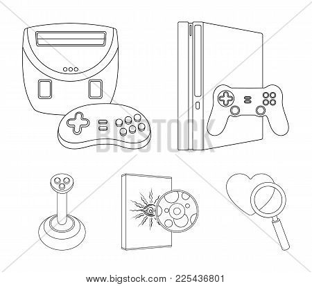 Game Console, Joystick And Disc Outline Icons In Set Collection For Design.game Gadgets Vector Symbo